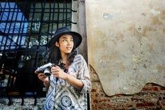 Begrepp för rekreation för fotografTravel Sightseeing Wander hobby fotografering för bildbyråer