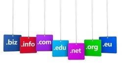 Begrepp för rengöringsduk för internetområdesnamn Arkivfoton