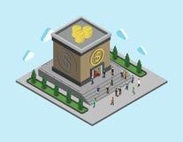 Begrepp för rengöringsduk för lägenhet 3d för bankfinanspengar isometriskt infographic Arkivfoto