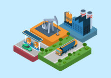 Begrepp för rengöringsduk för oljeproduktioncirkuleringslägenhet 3d isometriskt infographic royaltyfri illustrationer