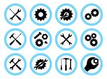 Begrepp för reparationsservice Enkel symbolsuppsättning: skiftnyckel, skruvmejsel, hammare och kugghjul Service symbol eller knap vektor illustrationer
