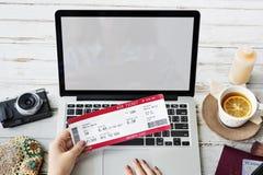 Begrepp för resa för avvikelse för biljettBookking tur arkivfoto
