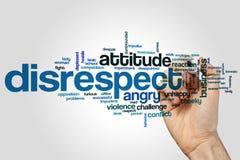 Begrepp för respektlöshetordmoln på grå bakgrund royaltyfri foto