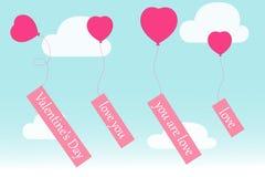 Begrepp för romantiker för hjärtor för flyg för luftballong Arkivfoton