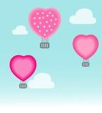 Begrepp för romantiker för hjärtor för flyg för luftballong Royaltyfri Bild