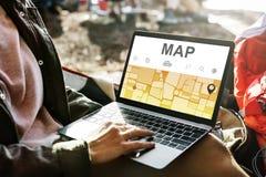 Begrepp för rutt för destination för riktning för översiktsGPS navigering Royaltyfri Fotografi