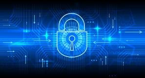 Begrepp för säkerhet för Digital information med låset Internet bakgrund för vektor för säker, avskildhets- och lösenordskydd royaltyfri illustrationer