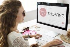 Begrepp för sökande för text för Webpage för shoppingbankrörelseredovisning Royaltyfri Bild