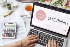 Begrepp för sökande för text för Webpage för shoppingbankrörelseredovisning Arkivbilder