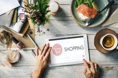 Begrepp för sökande för text för Webpage för shoppingbankrörelseredovisning Fotografering för Bildbyråer
