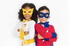 Begrepp för sakkunskap för unge för Superherotonårstidbarn Royaltyfri Fotografi
