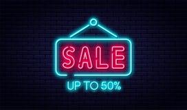 Begrepp för Sale neontecken, försäljnings- och rabatt Ljust och glödande neontecken för e-kommers, annonsering, baner, affischtav royaltyfri illustrationer