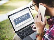 Begrepp för schema för program för dagordningtidsbeställningsplan Arkivbilder