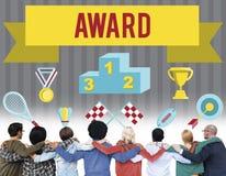 Begrepp för seger för utmaning för attestering för utmärkelseceremoni Arkivbild