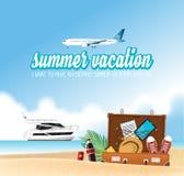 Begrepp för semester för sommarferie, fartyg- och flygplanillustration royaltyfri illustrationer