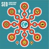 Begrepp 02 för SEO (sökandemotorOptimization) Infographic Royaltyfria Foton