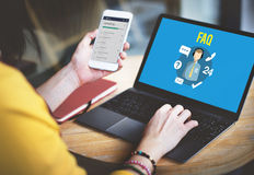 Begrepp för service för kund för handbok för FAQ-förfrågningsfrågor fotografering för bildbyråer