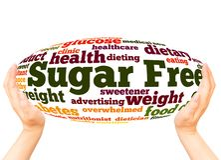Begrepp för sfär för hand för Sugar Free ordmoln royaltyfria bilder
