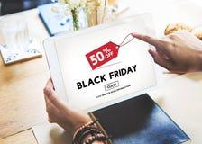 Begrepp för shopping för konsument för Black Friday befordranrabatt arkivfoton