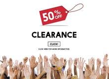 Begrepp för shopping för konsument för rensningsbefordranrabatt fotografering för bildbyråer