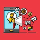 Begrepp för shopping för lager för pengaraffär digitalt marknadsföra online- royaltyfri illustrationer