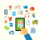 Begrepp för shoppinge-kommers hand royaltyfri illustrationer
