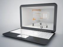 Begrepp för shoppingvagn och internet Royaltyfria Foton