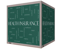 Begrepp för sjukförsäkringordmoln på en svart tavla för kub 3D Royaltyfria Bilder