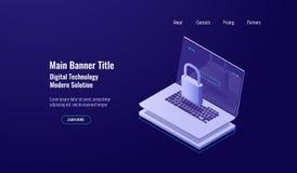 Begrepp för sköld för datasäkerhet isometriskt, bärbar dator med låset, kontoskydd, säker internetwork, mörkt neon stock illustrationer