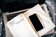Begrepp för skattplanläggning stock illustrationer