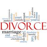 Begrepp för skilsmässaordmoln Arkivfoto