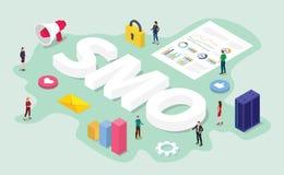Begrepp för Smo socialt massmediaoptimization med laget det digitalt arbete på affärsdataanalys med modern plan isometrisk stil - stock illustrationer