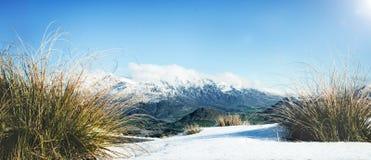 Begrepp för snö för vinterberg kallt fryst landskap royaltyfria bilder