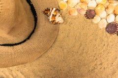 Begrepp för sommarsemester med snäckskal, kvinnors strandhatten och solglasögon på sandbakgrund Lekmanna- l?genhet, b?sta sikt royaltyfri bild