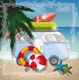 Begrepp för sommarstrandvektor med den retro bussen på stranden royaltyfri illustrationer