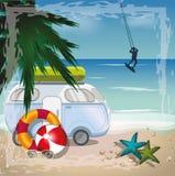 Begrepp för sommarstrandvektor med surfaren och den retro bussen på beaen stock illustrationer