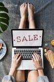 Begrepp för stämpel för rabatt för shopping för Sale befordran Royaltyfri Fotografi