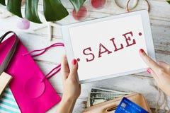 Begrepp för stämpel för rabatt för shopping för Sale befordran Arkivbild