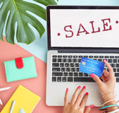 Begrepp för stämpel för rabatt för shopping för Sale befordran Royaltyfri Bild