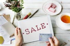 Begrepp för stämpel för rabatt för shopping för Sale befordran Arkivfoton