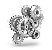 Begrepp för stålkugghjulhjul Fotografering för Bildbyråer