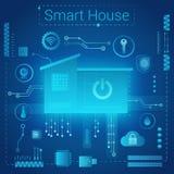 Begrepp för stil för Smart hem- modernt absractljus Smart hem i futuristisk bakgrund för mikrochipsbanor internet av royaltyfri illustrationer