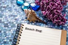 Begrepp för strandpåselista Royaltyfria Bilder