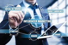 Begrepp för strategi för massmedia för nätverk för affär för Influencer marknadsföringsplan socialt royaltyfri bild