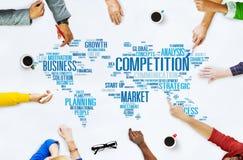 Begrepp för strid för utmaning för konkurrensmarknad globalt arkivbild