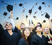 Begrepp för studentCelebration Education Graduation lycka royaltyfri fotografi