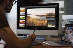 Begrepp för studio för design för ockupation för fotografiidéer idérikt royaltyfri bild