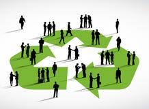 Begrepp för symbol för återvinning för diskussion för affärsfolk royaltyfri illustrationer