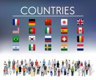 Begrepp för symbol för flaggaländer utländskt internationellt vektor illustrationer
