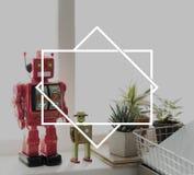 Begrepp för symbol för symbol för robotrumutrymme Arkivbild